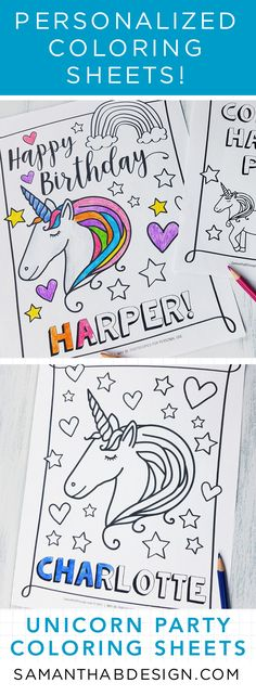 Personalized Unicorn Birthday Party Coloring Sheets! Print as many as you need for each guest! Kids love it! #unicornparty #shopping #birthdayparty www.SamanthaBDesign.com
