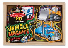Melissa & Doug Wooden Vehicle Magnets  All the wooden magnets like this are cool. N is into trucks so I pinned this one.