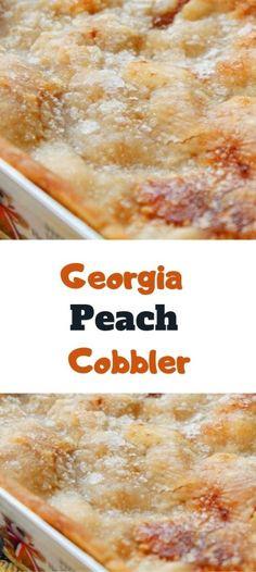 Easy Desserts, Delicious Desserts, Yummy Food, Georgia Peach Cobbler Recipe, Fruit Cobbler, Peach Cobbler Crust, Peach Crumble, Peach Dumplings, Fruit Dishes