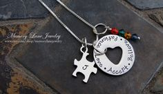 Autism Necklace Autism Awareness Hand by MemoryLaneJewelry
