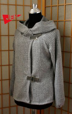 Grey stripes warm  hood sweater with dark grey by jenfashion, $80.00