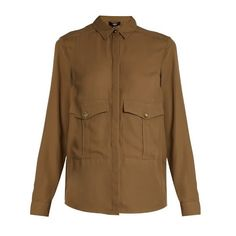 Versus Versace Patch-pocket crepe shirt ($289) ❤ liked on Polyvore featuring khaki