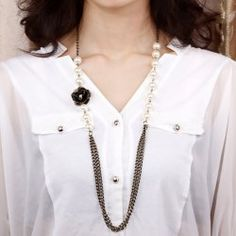 Characteristic Tassels Pendant Faux Pearl Decoarated Necklace For Women