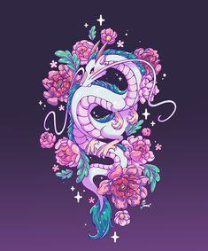 Cute Animal Drawings Kawaii, Kawaii Drawings, Kawaii Art, Cute Drawings, Chihiro Y Haku, Anime Tattoos, Drawing Challenge, Dragon Art, Elements Of Art