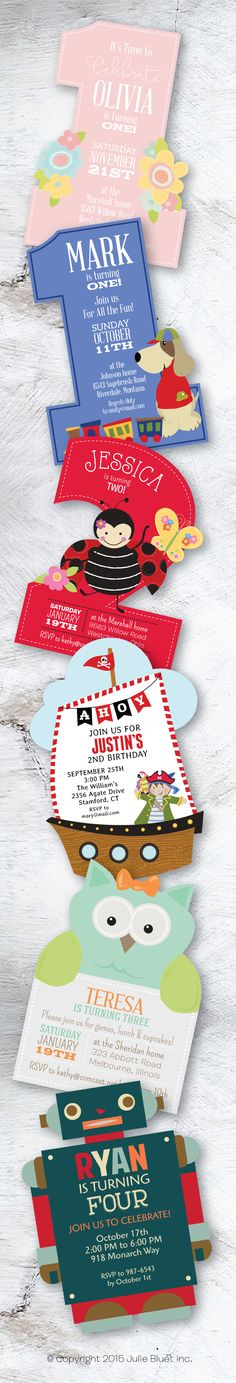 Our new collection of custom die cut invitations from Julie Bluet.