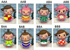 Animal Crossing City folk Girl faces...If I had face BAB I would immediately restart.