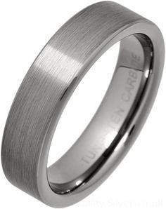 Ladies 5mm Flat Brushed Tungsten Carbide Ring