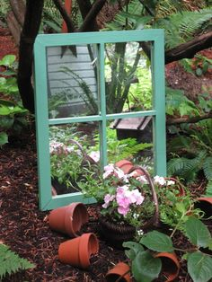 Put a mirror in your garden for a great effect ~~~ click on pot for more garden ideas