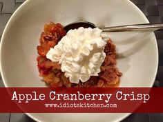 Apple Cranberry Crisp -The cranberries give a zing to the apples and crumbly, buttery topping. As a bonus, this can easily be made to be Gluten Free! Apple Cranberry Crisp, Dessert Recipes, Desserts, Kitchen Recipes, Healthy Recipes, Healthy Food, Mashed Potatoes, Gluten Free, Beef