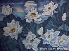 Ночные лотосы - батик, картины с цветами. МегаГрад - авторская ручная работа