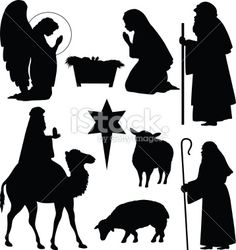 Christmas Nativity Silhouettes Royalty Free Stock Vector Art Illustration
