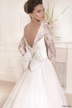 tarik ediz 2014 bridal collection sweetheart long sleeves lace a line wedding dress back zoom gelincik g1110