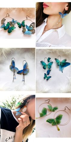 Boho Chic Long Earrings with Blue Silk Fluttering Butterflies, Bohemian Earrings with Butterfly wings, Butterfly Earrings Wire Jewelry Earrings, Diy Jewelry Rings, Cute Jewelry, Beaded Jewelry, Jewelry Accessories, Jewelry Design, Jewelry Making, Wire Necklace, Drop Earrings