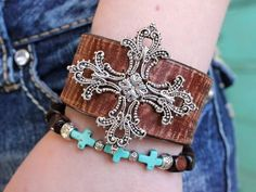 Antique Style Leather Boho Bracelet