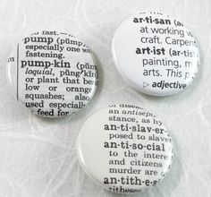 Custom Dictionary Pinback Button Choose your words by XOHandworks