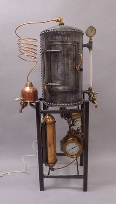 Steampunk Whiskey Still Liquor Cabinet - Trend Industrial Furniture 2019 Steampunk Coffee, Steampunk Desk, Steampunk Machines, Steampunk Interior, Arte Steampunk, Steampunk Furniture, Style Steampunk, Vintage Industrial Furniture, Rustic Furniture