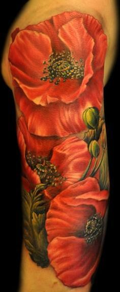 poppy - I just saw this! I'm finishing my work on my arm, with Red & White Poppy flowers and some other detail... This is the first I've seen anyone with Poppy's so I had to repin... Beautiful: & usually tells a story or reminds someone of pain or beauty in their life