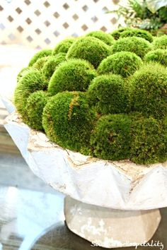 This is a pretty white iron urn filled with real moss.  Love this!