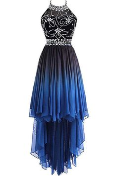 A Line Halter Beaded Blue High Low Chiffon Ombre Lace up Lon.-A Line Halter Beaded Blue High Low Chiffon Ombre Lace up Long Prom Dresses A Line Halter Beaded Blue High Low Chiffon Ombre Lace up Long Prom Dresses - Long Prom Dresses Uk, Ombre Prom Dresses, Hoco Dresses, Cute Dresses, Dress Outfits, Evening Dresses, Chiffon Dresses, Summer Dresses, Wedding Dresses
