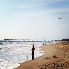 Pretty day, but a strong NE wind. Sun, 80, fresh salt air, warm water. Choppy surf. Fish are biting.