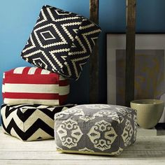 Turn a $3 IKEA floor mat into giant poufs with this hack.