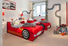 Unique Twin Bed for Boys inside Stunning Bedroom with White Nightstands and Small Table Lamps