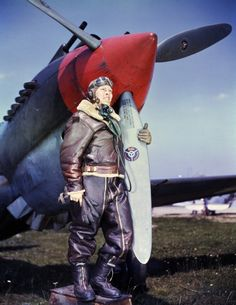 The pilot of the American fighter P-40 aircraft at its