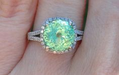 Mint Garnet and diamonds engagement ring