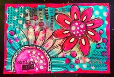 Tracy Scott - ICAD DAY 6 - fluorescent acrylic paint and penwork. Art Journal Pages, Art Pages, Art Journaling, Mixed Media Journal, Mixed Media Canvas, Art Journal Inspiration, Journal Ideas, Creative Inspiration, Junk Journal