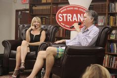 """GORDON, PETTIBON TALK ART, MUSIC On June 25, the Strand Book Store in New York City partnered with David Zwirner Gallery on a book signing event for Raymond Pettibon's latest monograph, """"To Wit."""" Pettibon is pictured here, at the event, discussing the book with Kim Gordon, one of the founding members of Sonic Youth.  Photo: Strand Book Store"""