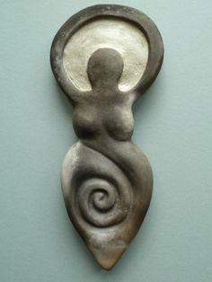 Smoke fired ceramic Earth Mother Goddess wall by ElementalCeramics, £33.00