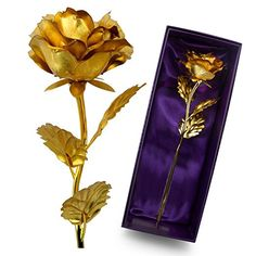 UniteStone Monther Day Gift 24K Gold Foil Artificial Rose Flower Birthday Gift Valentine's Day Gift Anniversary Gift