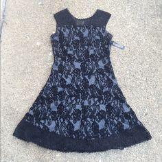 NY&Co black flared laced dress NEW - NY&Co black flared laced dress-size medium petite . New York & Company Dresses