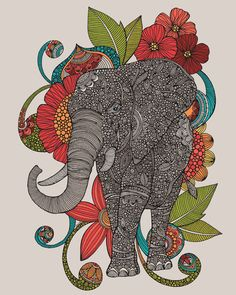 The intricate elephant on the Gallery Direct Ru Indoor/Outdoor Canvas Print by Indoor/Outdoor Canvas Print by Valentina Harper is surrounded by flowers. Elephant Love, Elephant Art, Zentangle Elephant, Elephant Paintings, Tattoo Elephant, White Elephant, Framed Wall Art, Wall Art Prints, Canvas Prints