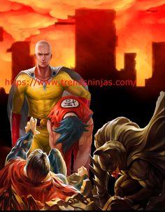 Saitama vs Superman goku and batman. One punch man does it again :)