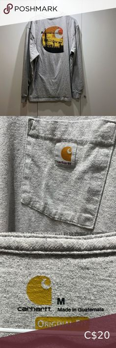 Amazing quality & in great condition Carhartt Shirts Tees - Long Sleeve Orange Grey, Orange Color, Carhartt Shirts, Plus Fashion, Fashion Tips, Long Sleeve Tees, Tee Shirts, Man Shop, Amazing