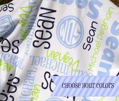 Custom Baby Blanket - Personalized Receiving Blanket for Girls or Boys - Baby Name Blanket - Newborn Swaddling Blanket - Baby Shower Gift by TheDreamyDaisy on Etsy https://www.etsy.com/listing/244132571/custom-baby-blanket-personalized
