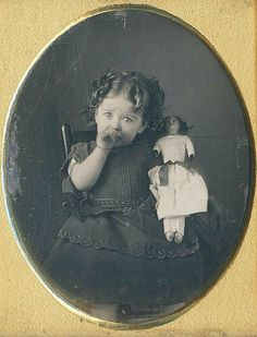 Poor little sweetie, but she will be in mamma's reassurring arms in a few seconds. Her dress is darling, and she has a ring on her finger. 1840s