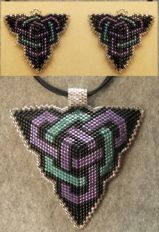 Double Celtic Knotwork Pendant & Earrings CHART ONLY Pattern by Pamela Welborn AKA Violetbead at Bead-Patterns.com