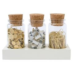 Sugar Paper® Office Supply Fastener Set in Corked Jars - Paper Clips/Pins/Binder Clips: Aesthetically pleasing office supplies –Monica (Arranger) Cute Office Supplies, School Supplies, Desk Supplies, Cubicle Makeover, Home Office Decor, Home Decor, Art Decor, Office Supply Organization, Craft Organization