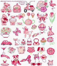 Maria Diaz Designs: PINK MOTIFS (Cross-stitch chart)