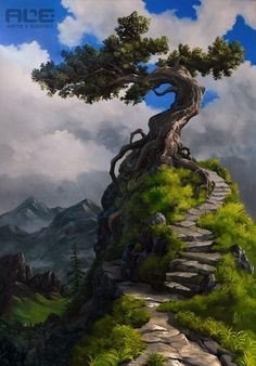 Only The Beginning Of The Adventure by DanteFitts on DeviantArt Chinese Landscape Painting, Fantasy Landscape, Abstract Landscape, Landscape Paintings, Unique Trees, Environmental Art, Tree Art, Nature Pictures, Belle Photo
