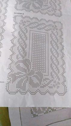 Crochet Border Patterns, Crochet Table Runner Pattern, Crochet Doily Diagram, Filet Crochet Charts, Crochet Flower Tutorial, Crochet Tablecloth, Crochet Designs, Crochet Doilies, Crochet Shell Stitch
