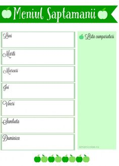 Meniul saptamanii - Mere verzi Monthly Menu, Eat Smart, Meal Planner, Diy And Crafts, Food And Drink, Printables, Drinks, Model, Journaling