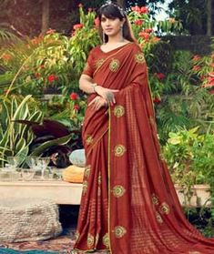 Chanderi Silk Saree Chanderi Silk Saree, Silk Sarees, Long Cut, Blouse Online, How To Dye Fabric, Color Shades, Head To Toe, Rust, Sari