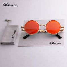 4a94f781575 CCSPACE Men Women Classic Round Glasses Brand Designer Sunglasses Red Lens  Fashion Eyewear Gold Frame SU078