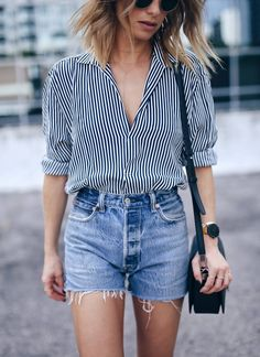 menswear striped shirt, @shopredone denim shorts | The August Diaries