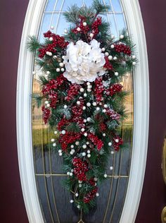 "Christmas Wreath Winter Wreath Holiday Vertical Teardrop Swag Door Decor..""Snow Berries"". via Etsy."