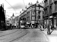 Springburn Road at Northcroft Road looking towards Balgrayhill, 1950s