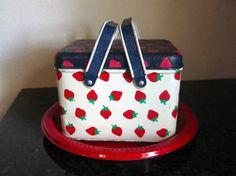 Vintage Strawberry Tin Picnic Basket/Potpourri Press Coated Tin Strawberry Box
